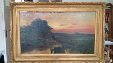 Märkische Sumpflandschaft mit Kate im Abendrot, Rudolf Hellgrewe, 1895