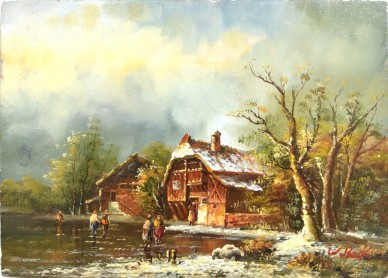 Winterlandschaft, W. Beck, 1901