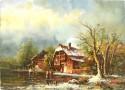 Häuser am See im Winter, W. Beck, 1899