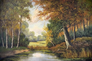Kleiner See im Herbstwald, Busch, 1903