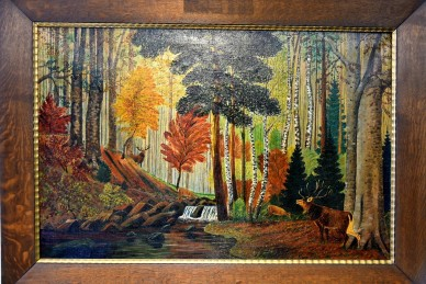 Wald mit Hirsch am Fluss, Impressionist, Stornitzky, 1931