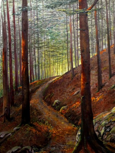 Waldweg im Abendlicht, Eugen Henigs, 1902