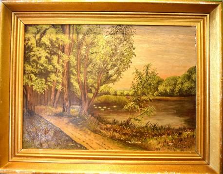 Bäume am Weiher, R. Ehnert, 1948