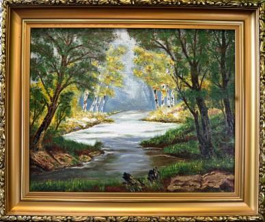 Surreale Waldlandschaft mit Fluss, A. Widerberg, 1950