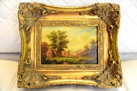 Miniaturgemälde - Auf der Jagd im grünen Tal, Monogramm EVR, 1905