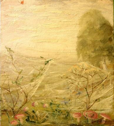 Pilze im Morgennebel auf Waldlichtung, HUGO LINÉR, 1933