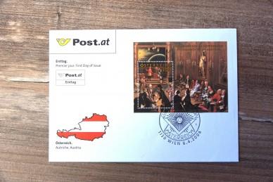 Republik Österreich Block 33 FDC, T58005, Briefmarke, Freimaurer Gemälde