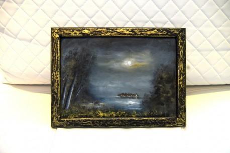 Märkische Seelandschaft im Mondschein, Ölgemälde, signiert, 1985