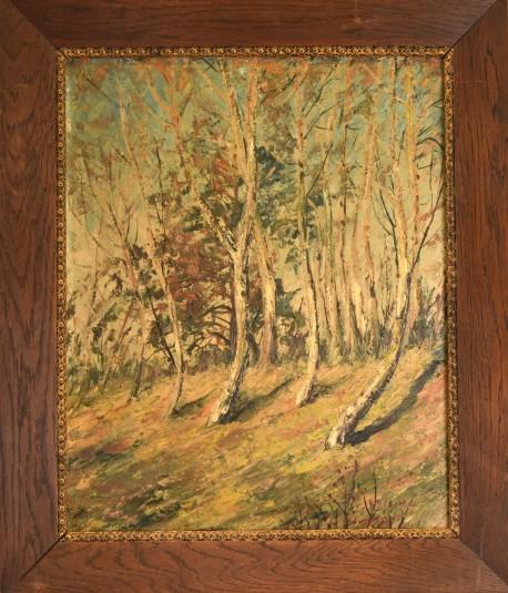 Waldlichtung am Birkenhain, signiert, 1890