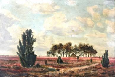 Heidlandschaft mit Bauhütte im Kiefernhain, Remer, 1860