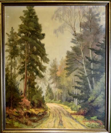 Weg im Wald am Morgen, Ölgemälde, Robert E. SkÅNnstrØm, 1985
