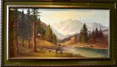 Balzender Auerhahn im Wald am Bergsee, Kumaos, 1939