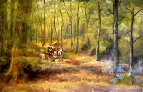 Waldweg mit Reiter, Worpswede, 1890