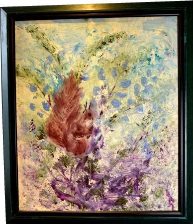 Eichhörnchen im blauen, unsigniert, 1960
