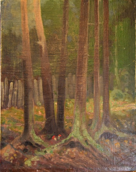 Rotkappen im dunklen Buchenwald, Hugo Gulden-Pullach, 1893