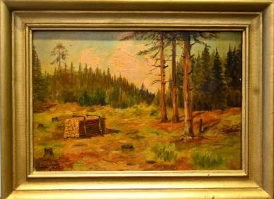 Lichtung im Wald mit Holzstapel, E. Schönicke, 1945