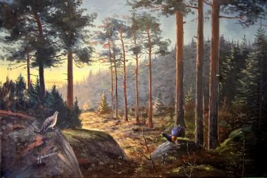 Waldlandschaft mit Auerhahn und Henne, G. Johansson, 1902