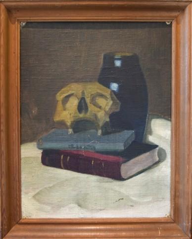 Schädel auf Buch neben Vase auf Tisch, unsigniert, 1905