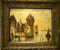 Bilderuhr mit Spielwerk, Mittelalterliche Stadt am Fluss, Monogram SAF, um 1900