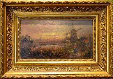 Bäuerin am Teich mit Windmühle, unsigniert, 1850