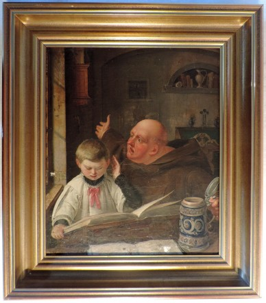 Messschüler und Mönch bei der Lektüre, Albert Köhler, 1838
