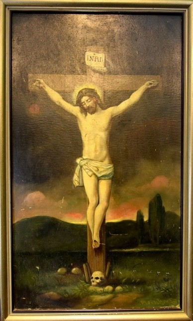 Jesus Christus am Kreuz über Totenkopf, Fleischmann, 1913