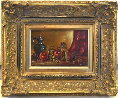 Rote Früchte vor rotem Vorhang, Stillleben, Atilla Argun, 1988