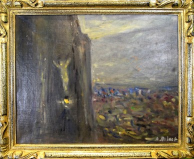 Leuchtender Retter an der Felswand, Jugendstil, Alois De Laet, 1900