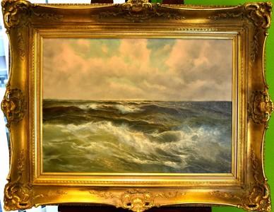 Wildes Meer, brausende Wellen, V. Burk, 1910