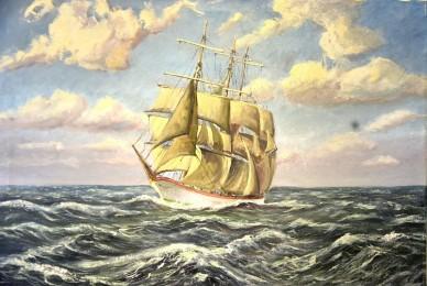 3-Master Segelschiff auf hoher See, F. Kleine, 1904