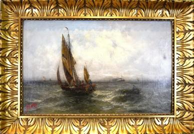 Fischer, Segler und Kutter auf hoher See bei schlechtem Wetter, Schittch, 1830
