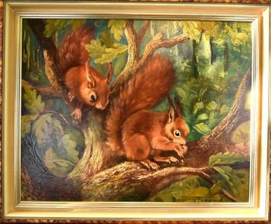 Zwei Eichhörnchen im Baum, F. Freund, 1948
