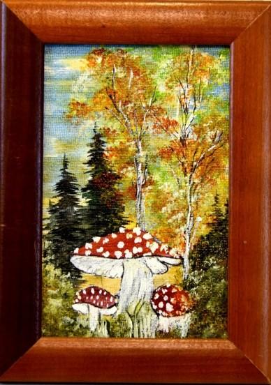 Amanita muscaria, Fliegenpilze im Wald, Miniatur, unsigniert, 1954
