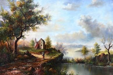 Ölgemälde, Landschaft, Öl auf Holz, 1905