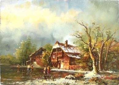 Winterlandschaft, W. Beck, 1901