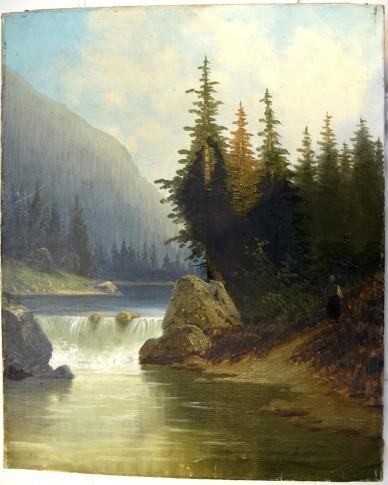 Ölgemälde, Veroni, Fluss und Wasserfall am Wald