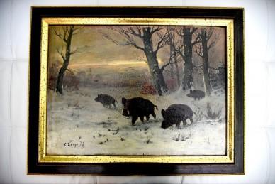 Ölgemälde - Wildschweine im Winterwald, C. Lange, Df, 1901