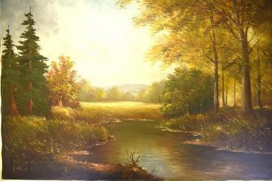 Romantischer Flusslauf im Herbstwald, Gotthardt, 1961