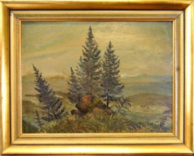 Tannen am Berggipfel im Nebel, R. Frengen, 1896