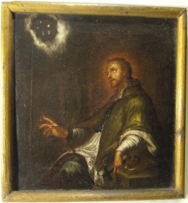 Johannes Nepomuk durch 5 Sterne über dem Haupt zu seinem Gott, um 1700