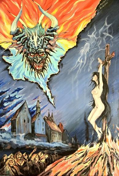 Hexenverbrennung mit Satan, Rolf Meisinger, 2017