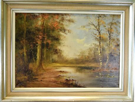 Märkischer Herbstwald mit Birken am See, H. Stino, 1948