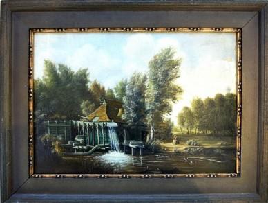 Stilles Treiben an der Mühle am Fluss, F. Fechner, 1860