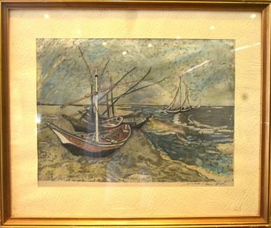 Boote am Strand bei Regenwetter, Seidenmalerei, Romi Graph, 1921