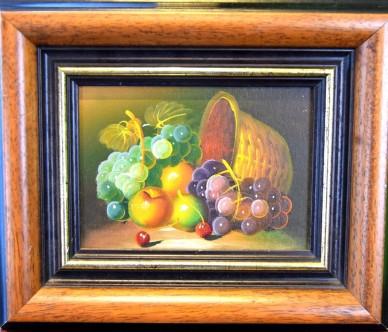 frische Früchte mit Korb, Stillleben, unsigniert, 1988