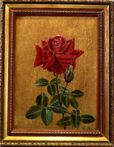 Rose auf Gold, Stillleben, A. Bach, 1905