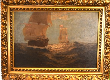 Zwei Segelschiffe auf Hoher See, Ludwig Rath, 1820