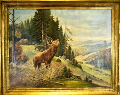 Röhrender Hirsch auf Lichtung ins Tal, Pietschmann, 1921