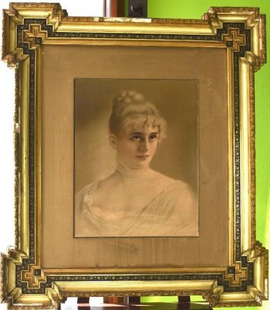 Portrait einer jungen Dame, Ölfarbendruck, Königliches Hof-Kunst-Institut Otto Troitzsch, 1898